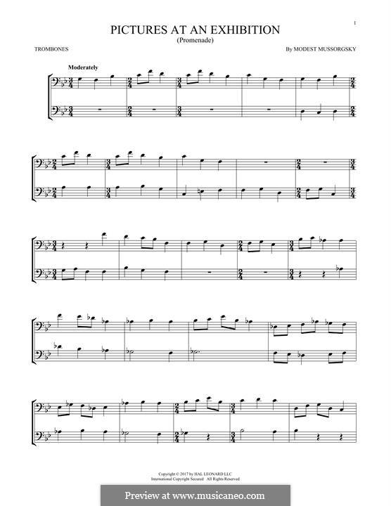 Прогулка I: Theme, for two trombones by Модест Мусоргский