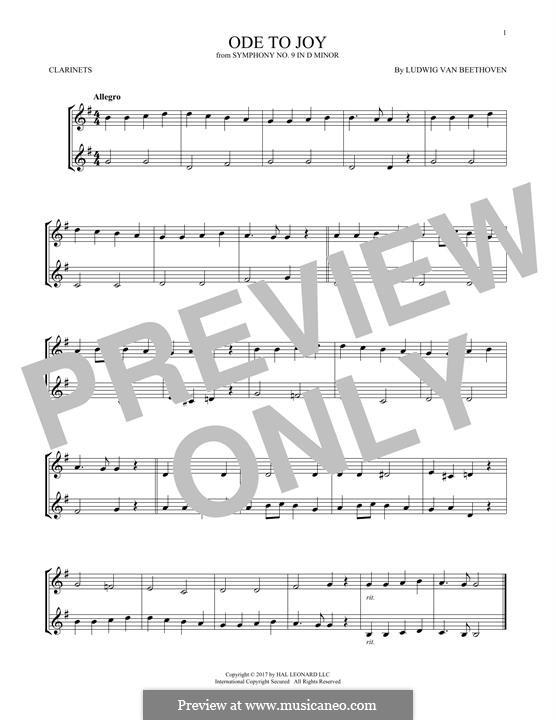 Ода к радости: Version for two clarinets by Людвиг ван Бетховен