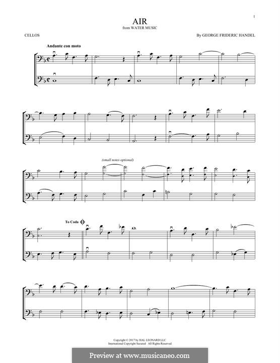 Сюита No.1 фа мажор, HWV 348: Aria, for two violins by Георг Фридрих Гендель