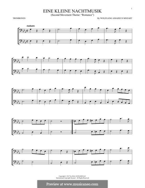 Аллегро: Excerpt, for two trombones by Вольфганг Амадей Моцарт