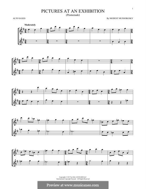 Прогулка I: Theme, for two alto saxophones by Модест Мусоргский