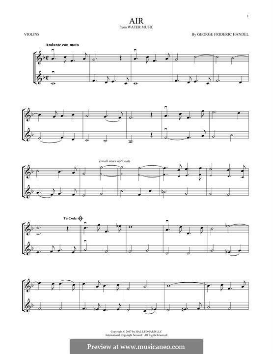 Сюита No.1 фа мажор – Ария, HWV 348: Для двух скрипок by Георг Фридрих Гендель