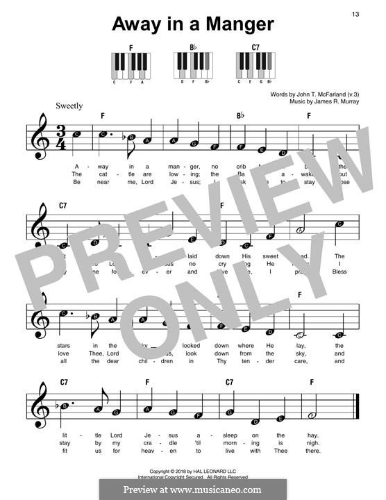 Away in a Manger (Printable Scores): Для фортепиано by Джеймс Р. Мюррей