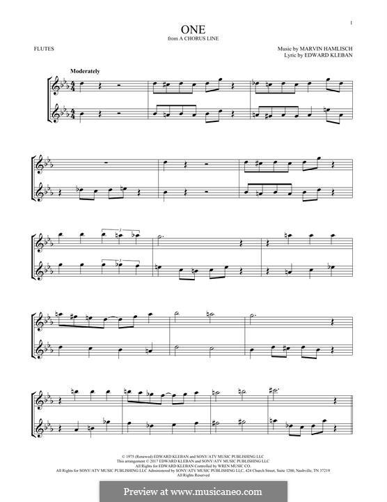 One (from A Chorus Line): Для двух флейт by Marvin Hamlisch