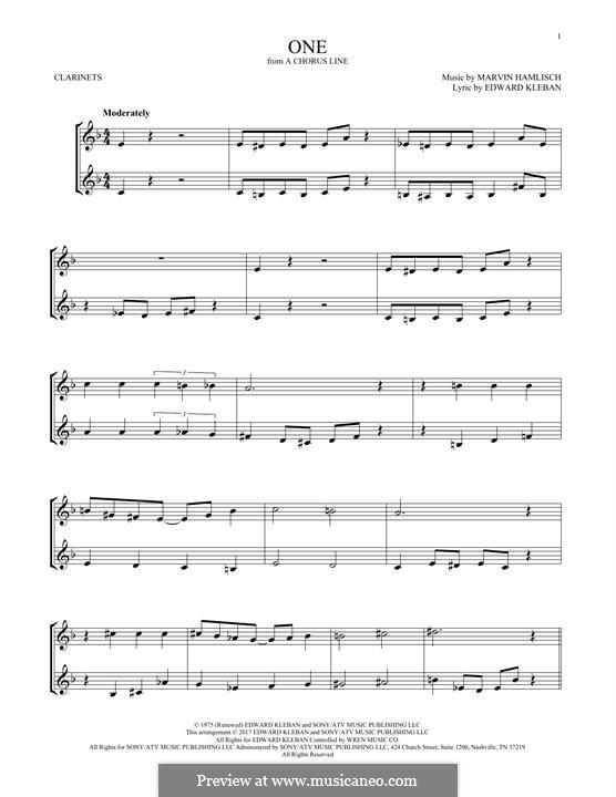 One (from A Chorus Line): Для двух кларнетов by Marvin Hamlisch