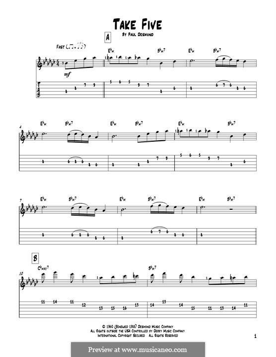 Take Five (Dave Brubeck): Гитарная табулатура by Paul Desmond