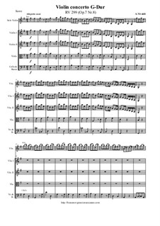 Concerto for Violin and Strings in G Major, RV 299 Op.7 No.8: Score and parts by Антонио Вивальди
