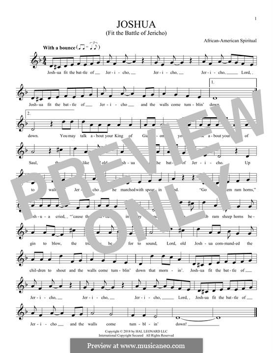 Joshua Fit de Battle ob Jericho (Joshua Fit the Battle): Мелодия by folklore
