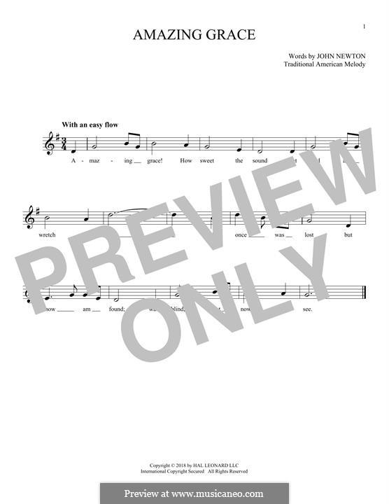Amazing Grace (Printable Scores): Мелодия by folklore