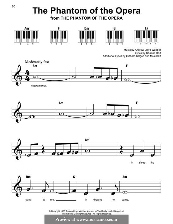 The Phantom of the Opera: For easy piano with lyrics by Andrew Lloyd Webber