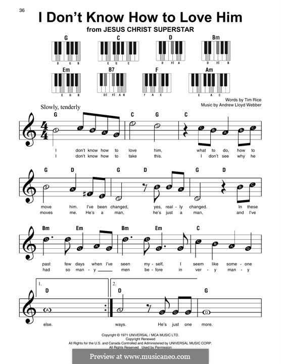 I Don't Know How to Love Him: For easy piano with lyrics by Andrew Lloyd Webber