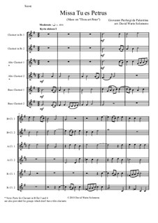 Missa Tu Es Petrus (Mass on 'Thou art Peter'): For clarinet choir or clarinet sextet by Джованни да Палестрина