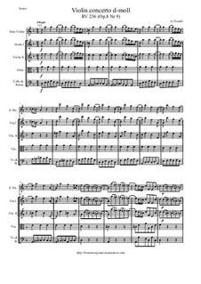 Концерт для скрипки с оркестром No.9 ре минор, RV 236: Score and parts by Антонио Вивальди
