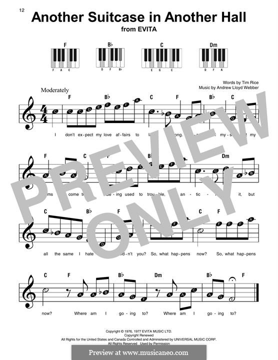 Another Suitcase in Another Hall: For easy piano with lyrics by Andrew Lloyd Webber