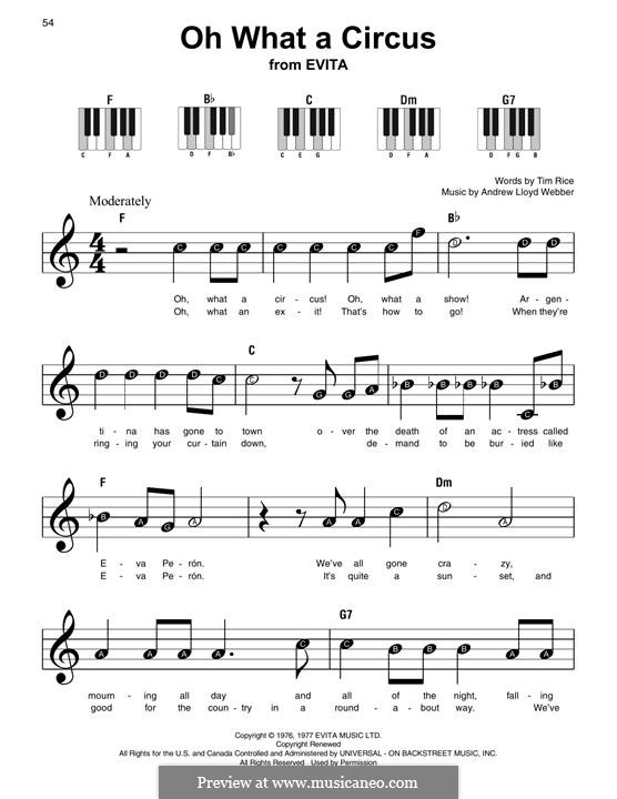 Oh What a Circus: For easy piano with lyrics by Andrew Lloyd Webber