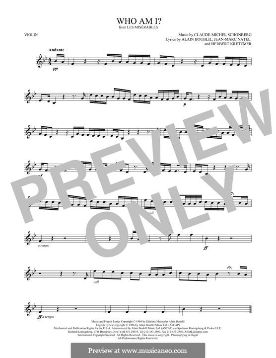 Who am I?: Для скрипки by Claude-Michel Schönberg
