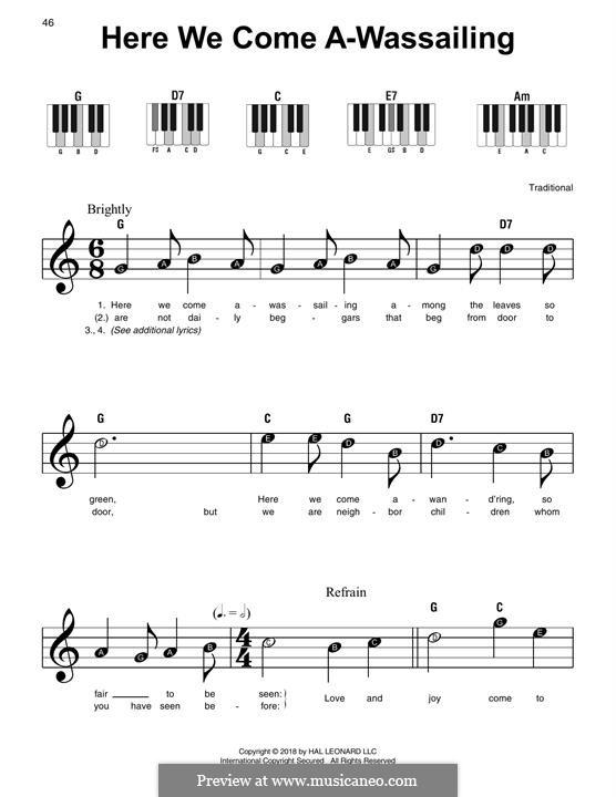 Here we Come a-Wassailing (Printable Scores): Для фортепиано (легкий уровень) by folklore
