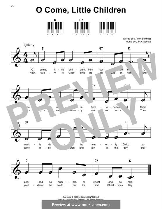 O Come, Little Children: Для фортепиано (легкий уровень) by Иоганн Авраам Шульц