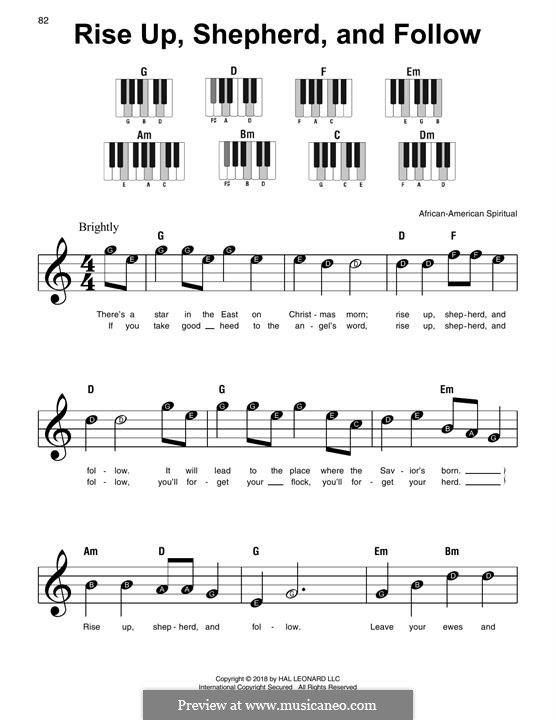 Rise Up, Shepherd, and Follow: Для фортепиано (легкий уровень) by folklore
