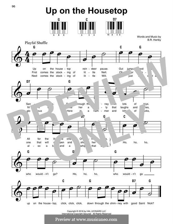 Up on the House Top: Для фортепиано (легкий уровень) by Benjamin Russel Hanby