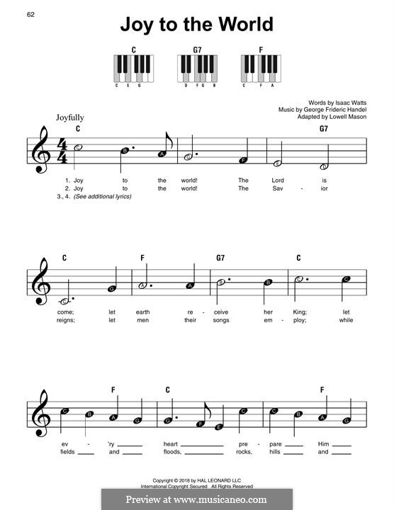 Joy to the World, for Piano: Easy version by Георг Фридрих Гендель