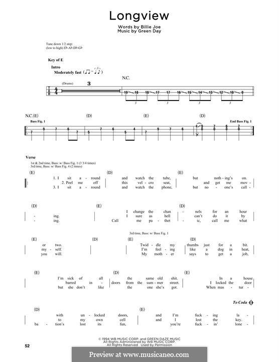 Longview (Green Day): Мелодия by Billie Joe Armstrong, Tré Cool, Michael Pritchard