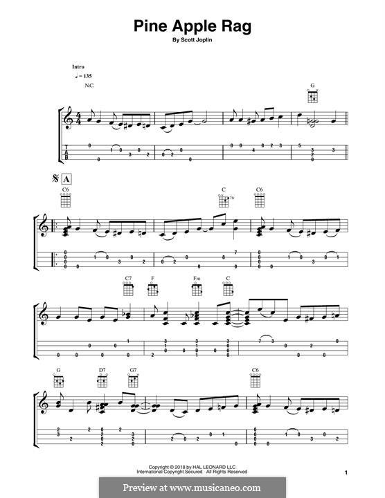 Pineapple Rag: For ukulele (Fred Sokolow) by Скотт Джоплин
