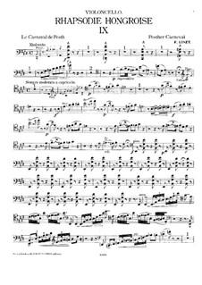 No.9 ми-бемоль мажор, для фортепианного трио, S.379: Партия виолончели by Франц Лист