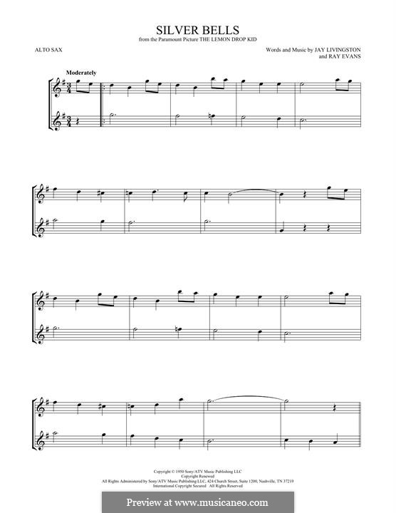 Silver Bells: For two alto saxophones by Jay Livingston, Raymond Evans