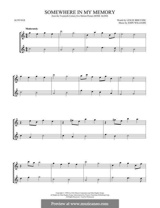 Somewhere in My Memory: For two alto saxophones by John Williams