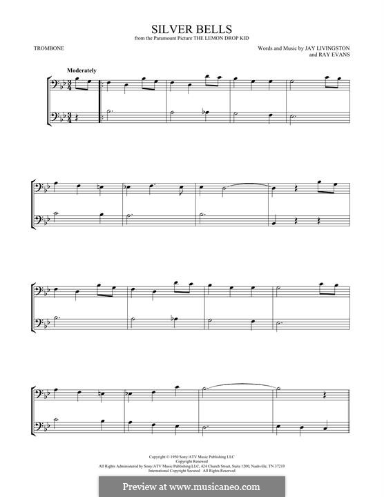 Silver Bells: For two trombones by Jay Livingston, Raymond Evans