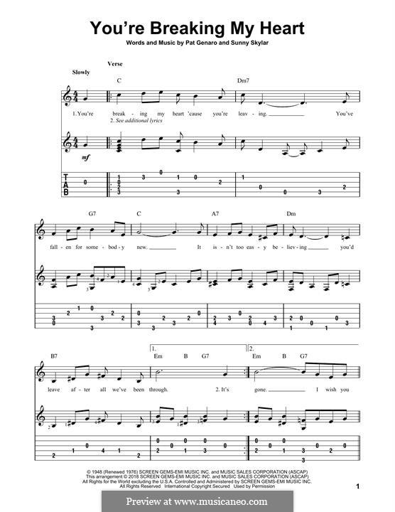 You're Breaking My Heart: Гитарная табулатура by Pat Genaro, Sunny Skylar