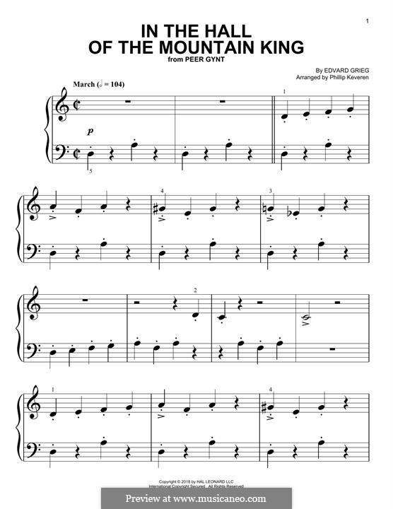 Сюита No.1. В пещере горного короля, Op.46 No.4: Для фортепиано (легкий уровень) by Эдвард Григ