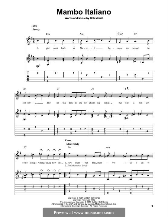 Mambo Italiano: Гитарная табулатура by Bob Merrill