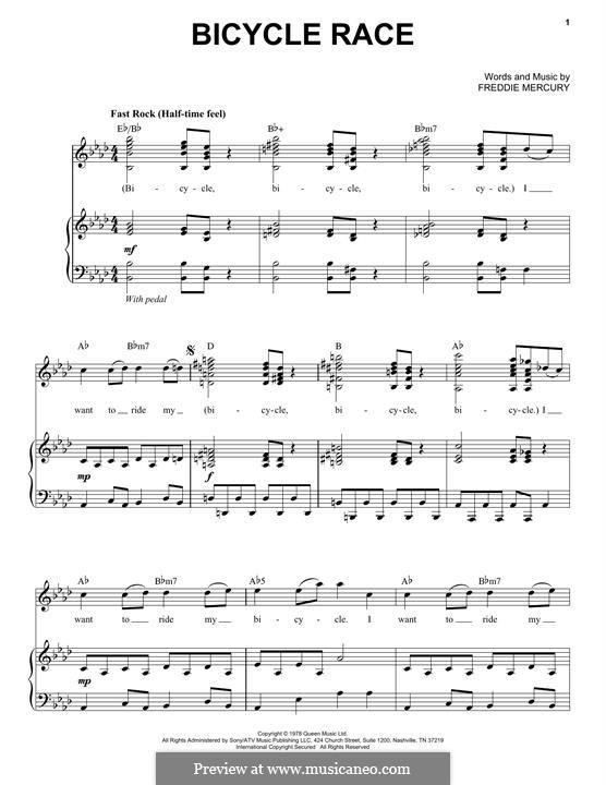 Bicycle Race (Queen): Для голоса и фортепиано by Freddie Mercury