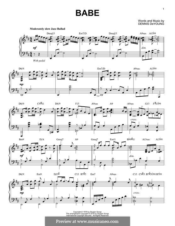 Babe (Styx): Для фортепиано by Dennis DeYoung