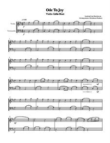 Ода к радости: For violin and cello duet by Людвиг ван Бетховен