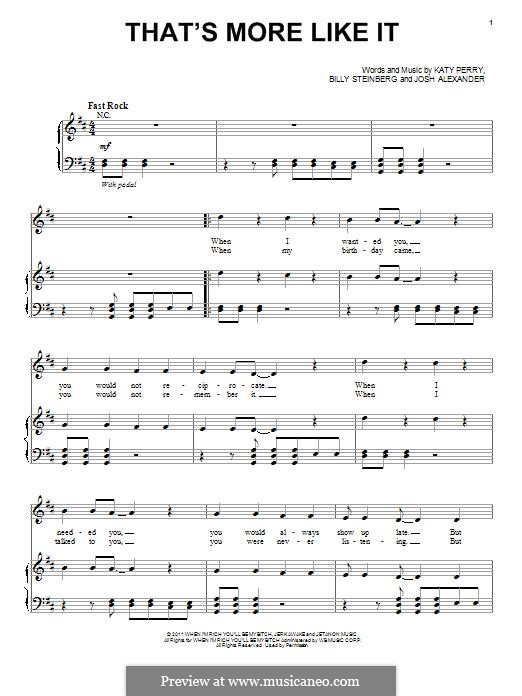 That's More Like It (Selena Gomez & The Scene): Для голоса и фортепиано (или гитары) by Billy Steinberg, Katy Perry, Selena Gomez, Josh Alexander