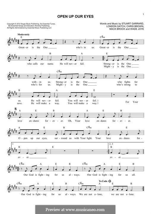 Open Up Our Eyes (Elevation Worship): Мелодия by Chris Brown, Stuart Garrard, Mack Brock, London Gatch, Wade Joye