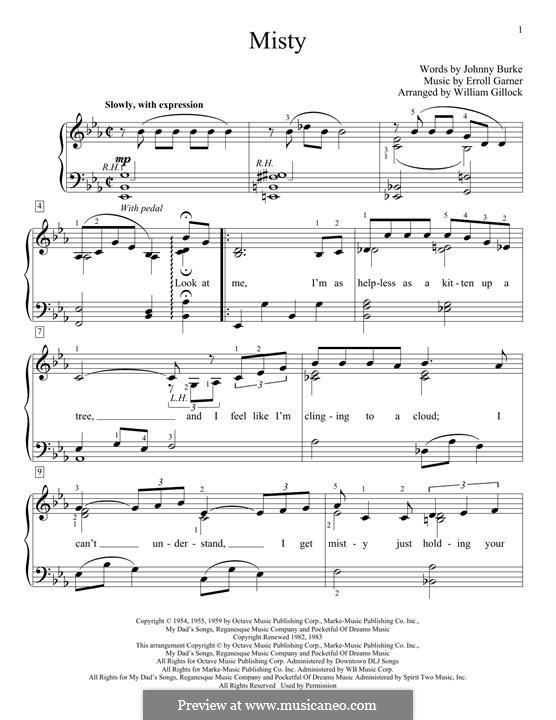Misty (Johnny Mathis): Для фортепиано (легкий уровень) by Erroll Garner