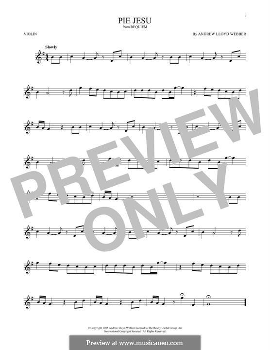 Pie Jesu (from Requiem): Для скрипки by Andrew Lloyd Webber