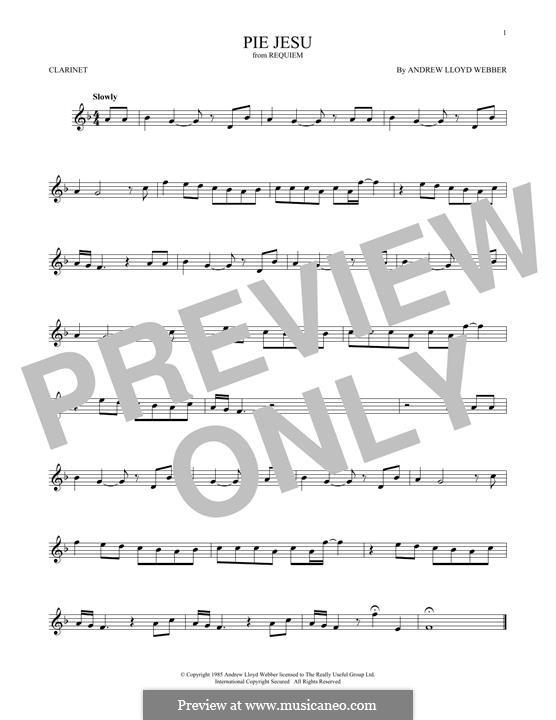 Pie Jesu (from Requiem): Для кларнета by Andrew Lloyd Webber