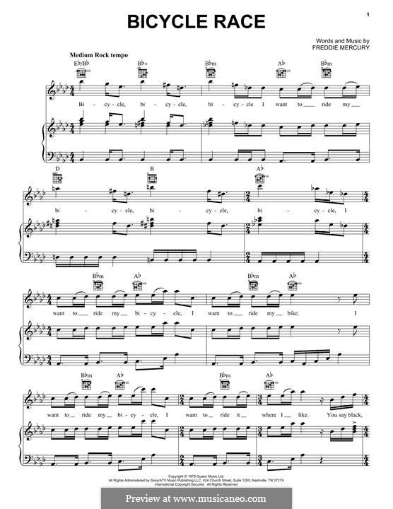 Bicycle Race (Queen): Для голоса и фортепиано (или гитары) by Freddie Mercury