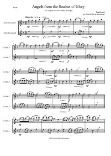 Angels from the Realms of Glory: Variations, for alto recorder duo by folklore