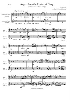 Angels from the Realms of Glory: Variations, for soprano or tenor recorder duo by folklore