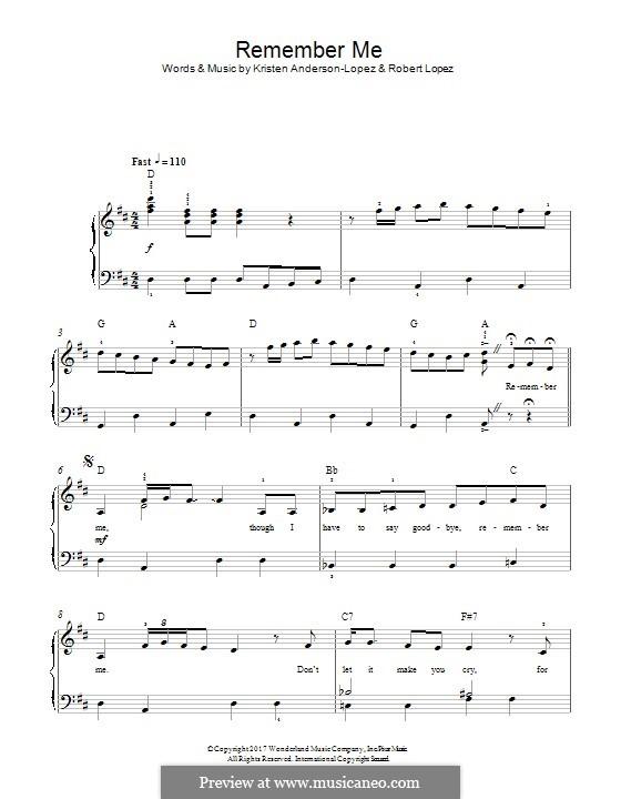 Remember Me (Ernesto de la Cruz) from 'Coco': For piano by Robert Lopez, Kristen Anderson-Lopez