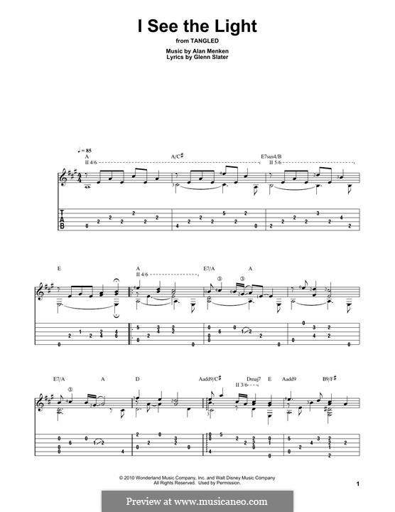 I See the Light: Гитарная табулатура by Alan Menken