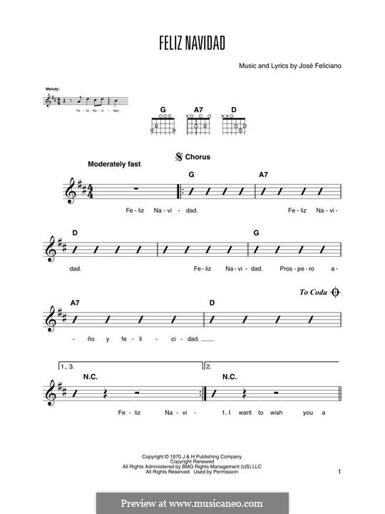 Feliz Navidad: For guitar chords with lyrics by José Feliciano
