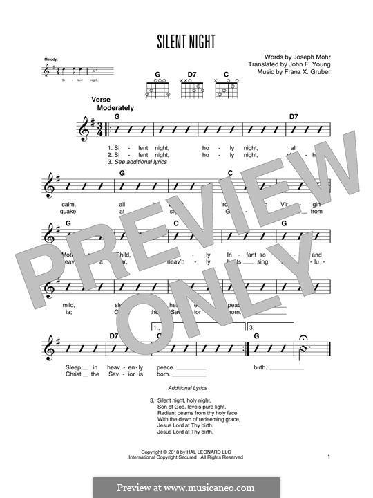 Тихая ночь (ноты для печати): Гитарная табулатура by Франц Ксавьер Грубер