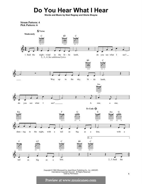 Do You Hear What I Hear (Instrumental version): Гитарная табулатура by Gloria Shayne, Noël Regney